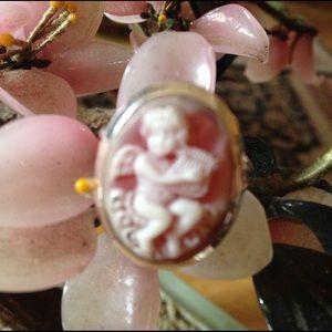 Vintage 925 engraved angel ring