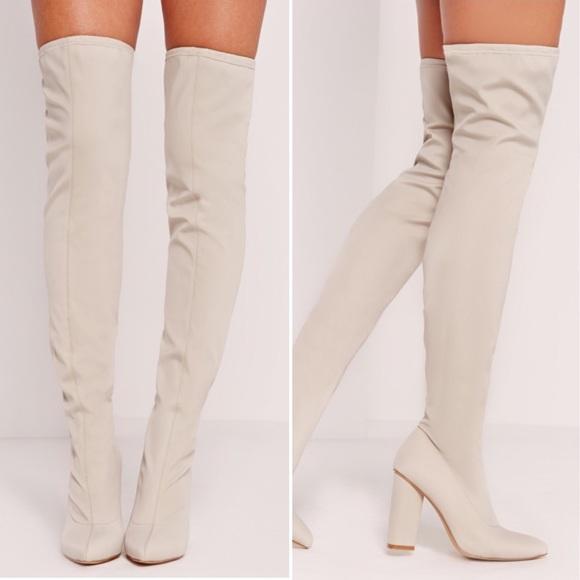 ef0c4a80803 MISSGUIDED NIB white cream thigh high boot