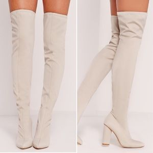 Missguided Shoes - MISSGUIDED NIB white cream thigh high boot
