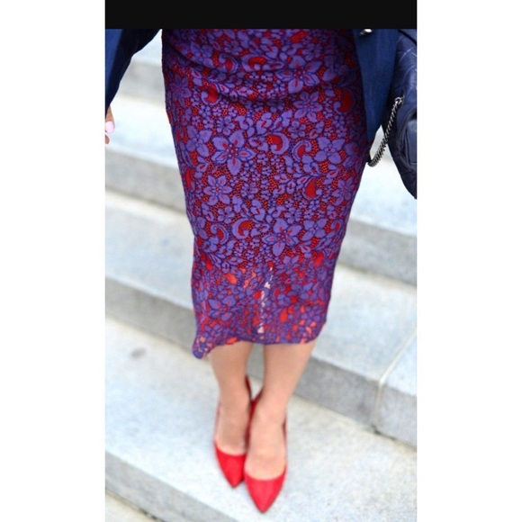 54% off Zara Dresses & Skirts - Zara lace midi skirt - red purple ...