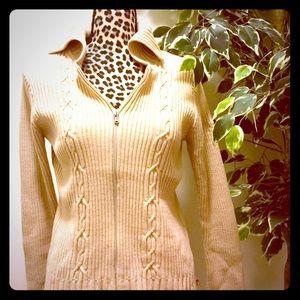 Nautica Sweaters - 🔥SALE🔥Nautica Cream Zip Up Cableknit Sweater