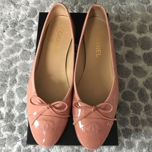 Chanel patent leather ballet flats