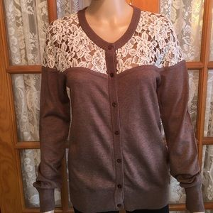WOW couture Sweaters - WOW Couture Lace Top Soft Sweater Size Large