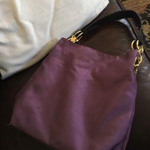 Lk NW Boutique Purple Canvas W Leather &Gold Purse