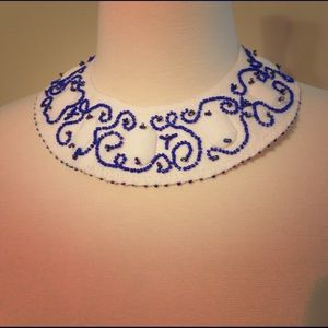 white blue beads embroidered bib necklace