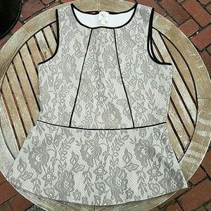 SOLDWeston Wear gray lace overlay peplum top, sz M