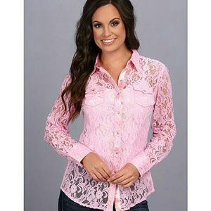 Ariat Tops - Ariat pink lace snap up nwot xxl blouse