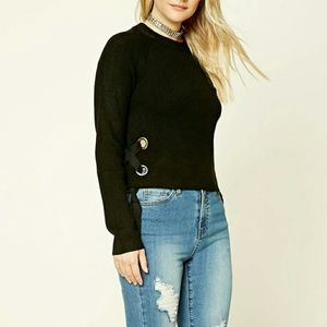 Sweaters - Black knit sweater with lace up side details