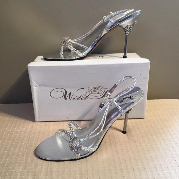 e28c04e49 Wild Rose Womens Silver High Heel Sandals Size 10
