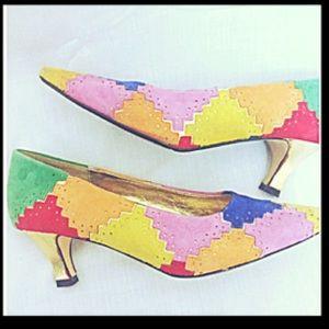 J Renee Vintage Patchwork Suede Appliqué Gold Heel