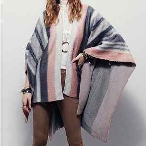Free People Offroad Striped Ruana/Wrap/Poncho