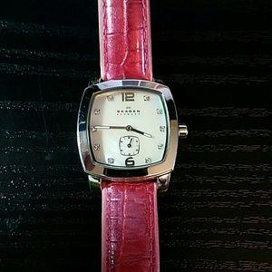 Skagen Accessories - Skagen Pink Pearl Leather Strap **NEW BATTERY **