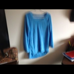Tops - Blue fuzzy Long sleeve tunic