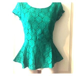 Green Lace Peplum Top -size S