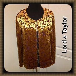 Lord & Taylor Jackets & Blazers - Lord & Taylor Top Close Jacket Gold/Plum L/XL