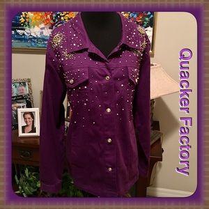 Quacker Factory Jackets & Blazers - Quacker Factory Plum Denim Embellished Jacket L