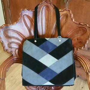 Emma Fox Handbags - Emma Fox suede Argyle Patchwork Handbag NWT!