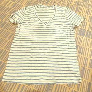 J. Crew Tops - J CREW BLUE AND WHITE STRIPED TEE