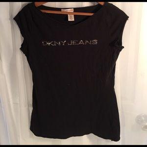 Black DKNY JEANS V-neck T-shirt