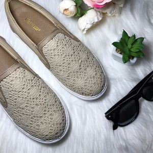 Boutique Shoes - Nude Crochet Lace Slip On Espadrilles