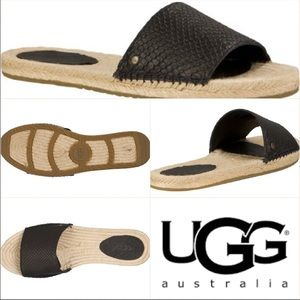 🌈New UGG Cherry Exotic Leather Black Sandals