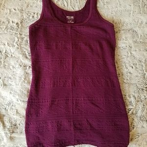Purple embroidered fitted  tank