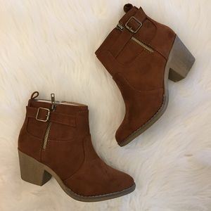 •new• Cognac Suede Buckle Ankle Boots