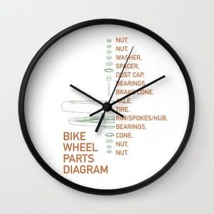 Diagram wall clock circuit connection diagram handmade other white bicycle bike wheel parts diagram wall clock rh poshmark com diagram of westclox ccuart Choice Image