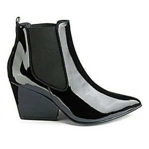 Simply Be Shoes - Sole Diva Wide EEE Patent Chelsea Booties
