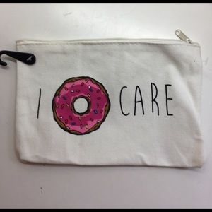 "Handbags - Cute canvas pouch ""I donut care"". Cell/make up"