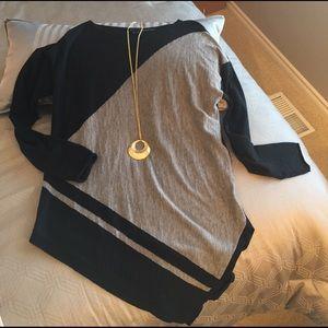 360 Sweater Tops - Gray & Black Asymmetrical Lightweight Sweater Top