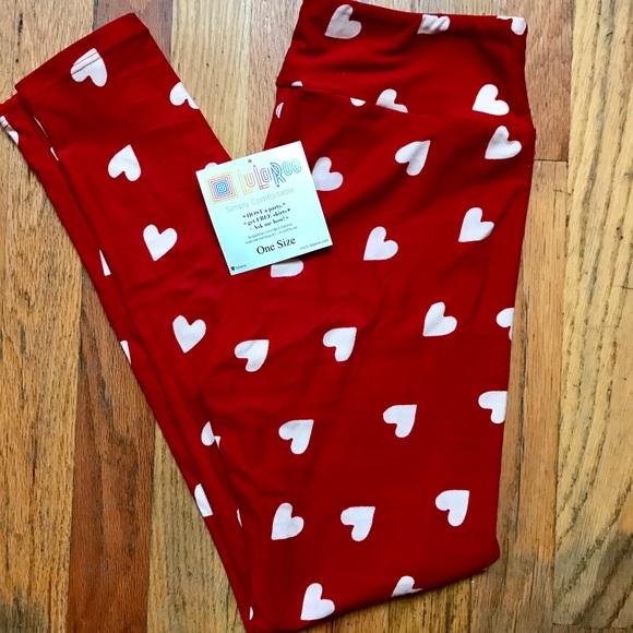 638fc18b78557 LuLaRoe Pants | Valentine Leggings Red With White Hearts | Poshmark