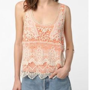 Staring at Stars Tops - Urban Outfitters orange and cream crochet tank