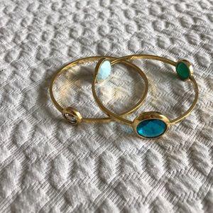 Henri Bendel gold tone marked bangle bracelets