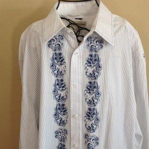MENS Long sleeve Pronto-Uomo dress shirt. 2XLT