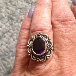 Jewelry - 92.5 stamped Sterling Silver and amethyst ring