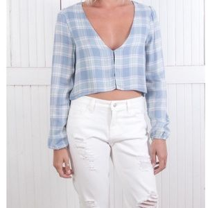 The Laundry Room Tops - Little Harlow Top in Sky Plaid