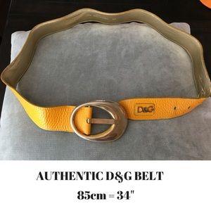 """D&G Accessories - D&G Leather Gold Belt-Size 34"""""""