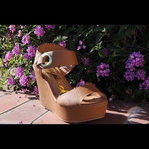 shoeroom21 boutique Shoes - Ladies ankle buckle wedge sandal. Camel color. NIB