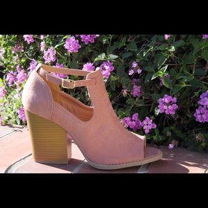 shoeroom21 boutique Shoes - Ladies peep toe high top ankle buckle bootie mauve