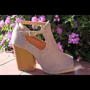 shoeroom21 boutique Shoes - Ladies peep toe high top ankle strap booties.Taupe