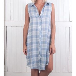 The Laundry Room Dresses & Skirts - Lonestar Button Up Dress in Sky Plaid