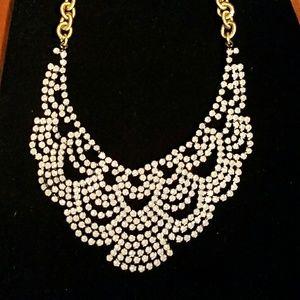 Elizabeth Cole 24kgp crystal lace scallop necklace