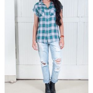 The Laundry Room Tops - Dawn Top Button Down in Clover Plaid