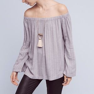 Cloth and stone off the shoulder shirt