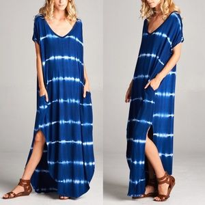 1 HR SALEKANA tie dye boho chic dress - R.BLUE