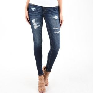 Rose Embroidered Distressed Skinny Jeans
