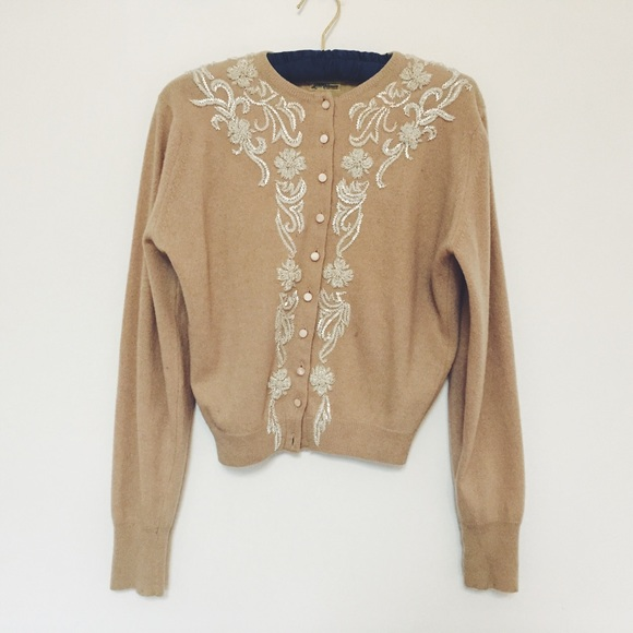 Vintage Sweaters - Vintage Mad Men Style Beaded Cashmere Cardigan