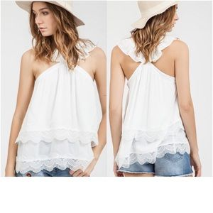 Tops - 💙 Host Pic 💙 Scalloped Lace Haltered Top