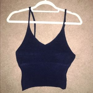 Navy knitted cropped tank top